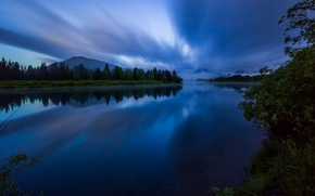 Picture forest, the sky, water, clouds, trees, mountains, night, nature, surface, reflection, river, shore, USA, USA, ...