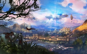 Picture trees, landscape, the city, castle, horse, horse, people, fantasy, art, volatile, in the sky