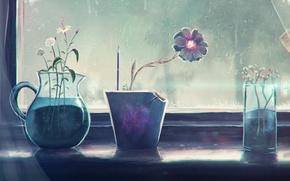 Picture flowers, glass, rain, window, art, sill, pitcher, pot