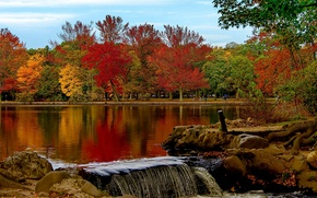 Picture autumn, trees, lake, Park, New York, Babylon, Belmont Lake State Park, the state of new ...