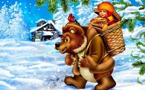 Wallpaper snow, birds, house, basket, oil, tale, bear, girl, pancakes, carnival, bullfinches