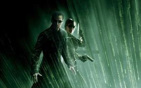 Wallpaper Neo, guns, Matrix, Trinity, Keanu Reeves, Carrie-Anne Moss