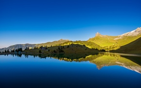 Picture mountains, lake, home, Switzerland