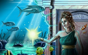 Picture Girl, Magic, Brown hair, Fiction, Underwater world