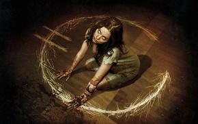 Picture cinema, demon, girl, blood, devil, floor, evil, film, darkness, horror film, white eyes, Devil's due, …