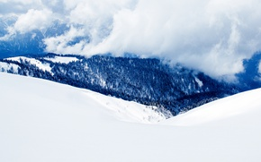 Picture clouds, snow, trees, mountains