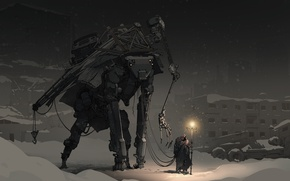 Picture winter, light, fiction, people, robot, the evening, hood, traveler, post apocalyptic, guide