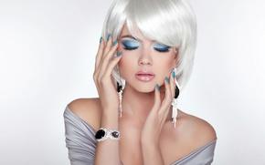Picture girl, decoration, portrait, hands, makeup, white hair