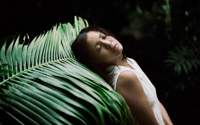 Picture girl, nature, sheet, stay, sleep