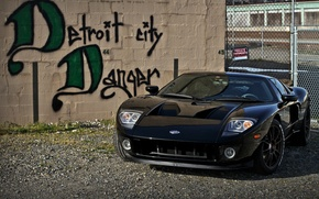 Wallpaper wall, black, the inscription, the fence, wheels, ford, black, Ford, brick