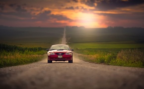 Picture road, sunset, space, Ford Mustang