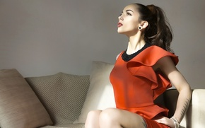 Picture pose, style, model, tattoo, red dress