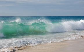 Wallpaper wave, shore, beach, sand, sea, wave, water, the sky, landscape
