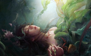 Picture water, girl, algae, flowers, the situation, art, fantasy