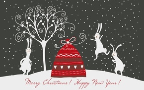 Picture new year, Christmas, rabbits, rabbits, a bag with gifts