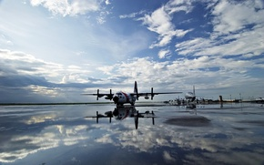 Wallpaper Aircraft, the sky, water, strip