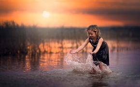 Picture water, sunset, splash, girl, Splash