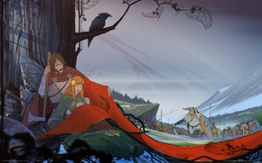 Picture tree, fantasy, pair, army, Saga, game wallpapers, The Banner Saga