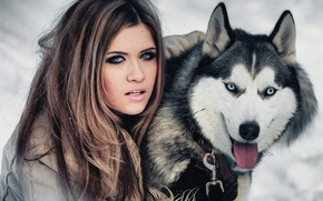 Picture girl, dog, friendship, blue eyes, husky