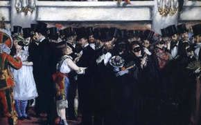 Picture people, interior, picture, genre, Edouard Manet, Masquerade ball at the Opera