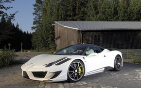 Picture road, forest, white, tuning, the building, the fence, white, ferrari, Ferrari, front view, Italy, 458 …