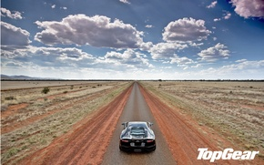 Picture road, the sky, clouds, the steppe, black, Lamborghini, horizon, supercar, rear view, top gear, LP700-4, …