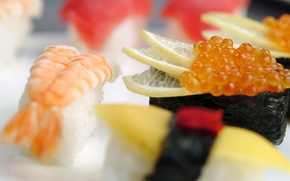 Wallpaper lemon, food, shrimp, figure, caviar, delicious, sushi