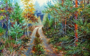 Picture landscape, nature, oil, picture, painting, canvas, forest road, Khodukov