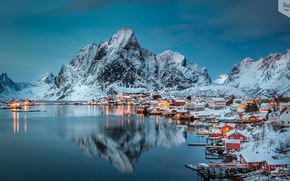 Picture mountains, lake, village