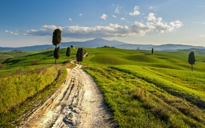 Picture road, hills, Italy, Tuscany, rural landscape