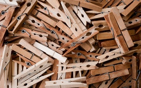 Picture macro, a lot, clothespins, wooden