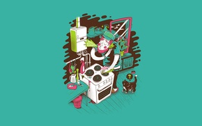 Wallpaper cat, vector, cleaning, kitchen, plate, j3concepts