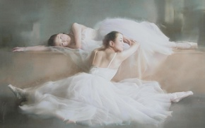 Wallpaper picture, twine, stay, ballerina, art, Liu Yi, dresses, ballet, Asian girls, Pointe shoes, watercolor, girls