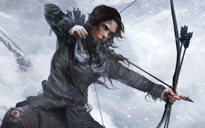 Picture Winter, Girl, Snow, Bow, Lara Croft, Square Enix, Lara Croft, Arrow, Rise of the: Tomb ...