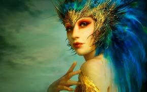 Picture girl, Figure, feathers, Benita Winckler