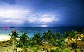 Picture sand, sea, beach, clouds, tropics, palm trees, overcast, coast, zipper, horizon, Bahamas, Bahamas