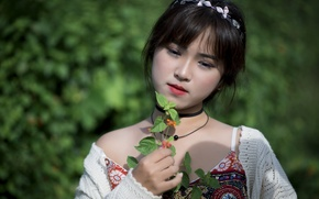 Picture girl, sprig, sweetheart, dress, Asian