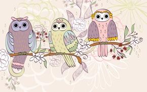 Picture flowers, birds, branch, texture, owls