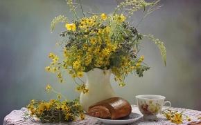 Picture tea, bouquet, still life, roll