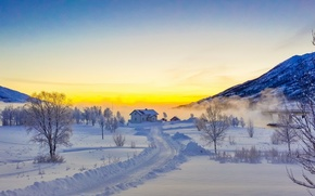 Picture The Lofoten Islands, Lofoten, snow, mountains, winter, road, trees, Norway, house, Norway, sunset