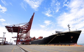 Picture The sky, Port, Pier, Board, Day, The ship, A container ship, Cranes, Tank, Terminal, NYK ...