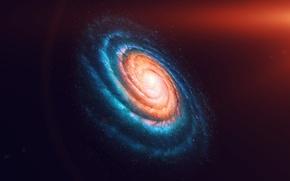 Picture dark, space, star, night, galaxy, ainbow