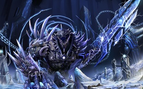 Picture snow, monster, sword, art, tower, chain, The Return of the King