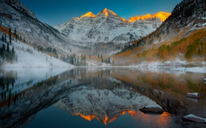 Picture snow, mountains, lake, Colorado, Aspen