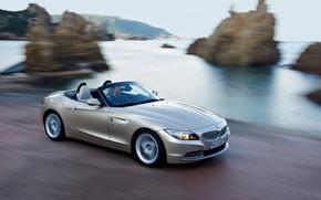 Picture Sea, Rocks, BMW, Machine, Convertible, BMW, Coast, In Motion