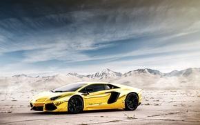 Picture the sky, mountains, reflection, Lamborghini, Lamborghini, Lamborghini, LP700-4, Aventador, Aventador, LB834, Golden chrome, Project AU79, …