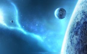 Wallpaper blue, energy, planets, sci fi