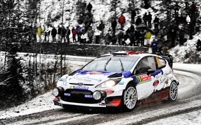 Picture Ford, Winter, Auto, White, Snow, Sport, People, Race, Lights, WRC, Rally, Rally, Fiesta