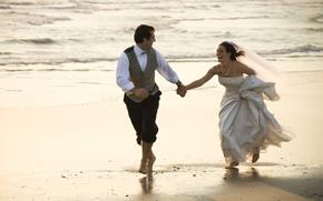 Wallpaper the bride, wedding, mood, the groom, sand, sea, wedding dress, joy, veil