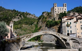 Picture the sky, mountains, bridge, the city, river, castle, tower